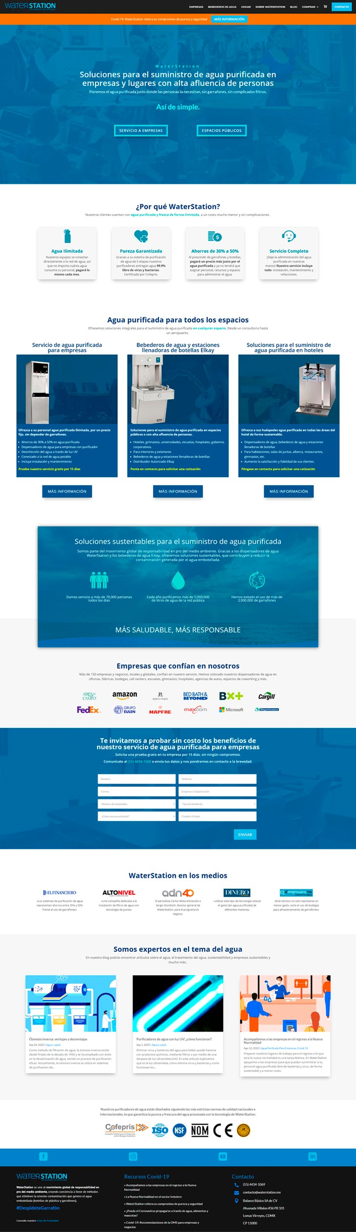 Rediseño Página Web Waterstation Home Page
