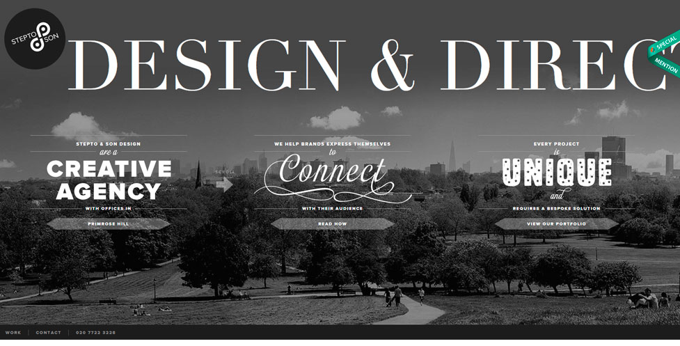Tendencias diseño web 2020: Ejemplo tipografía y color vintage