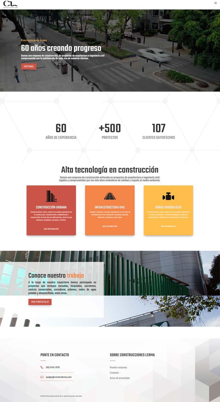 Ejemplo Home Page Construcciones Lerma