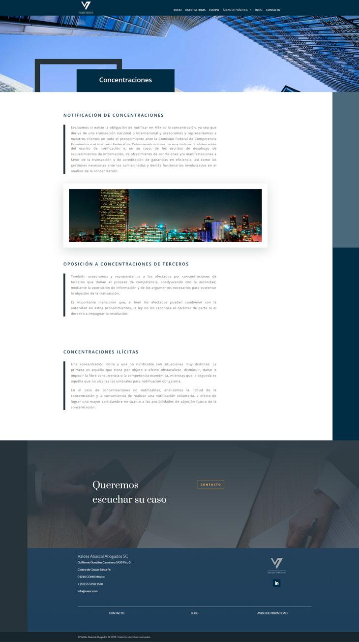 Ejemplo Página Servicios Sitio Web Valdes Abascal
